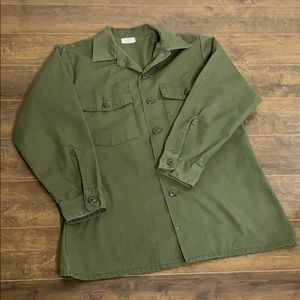 VINTAGE L ARMY Green Shirt Jacket AUTHENTIC